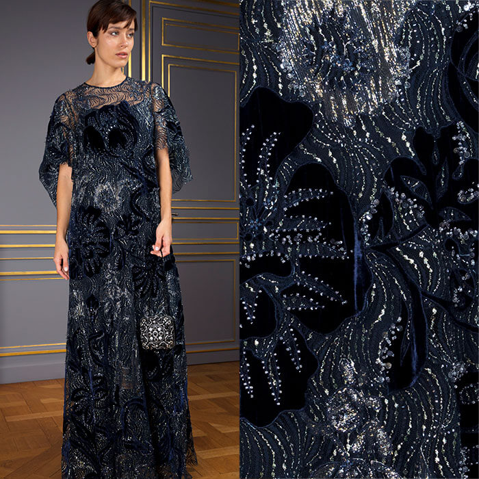 Midnight blue lace gown with velvet handcrafted appliqués and silver beading