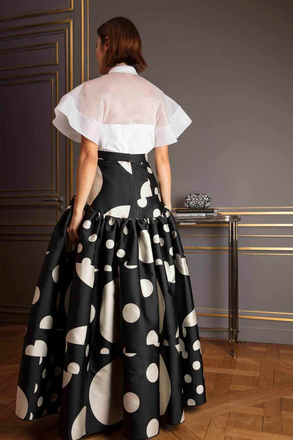 High-waisted tiered floor-length polka dot skirt