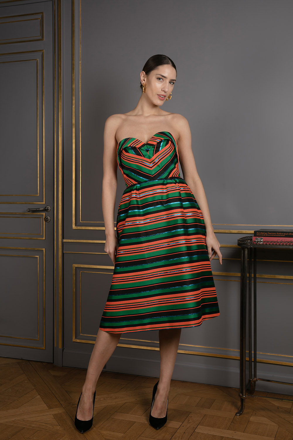 Ribbon striped bustier dress with sweetheart neckline