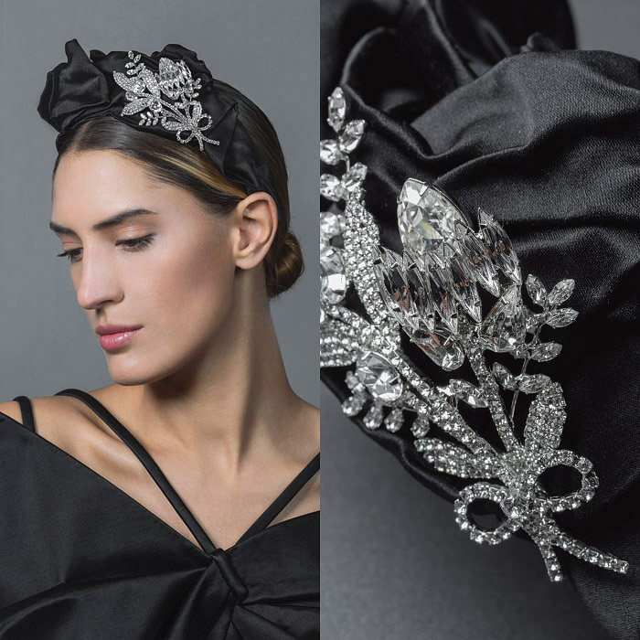 BLACK SATIN HEAD BAND EMBELLISHED WITH SWAROVSKI CRYSTAL FLOWER BOUQUET TIED WITH A BOW