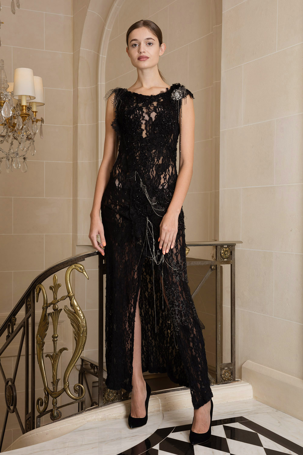 Black haute couture tulle dress