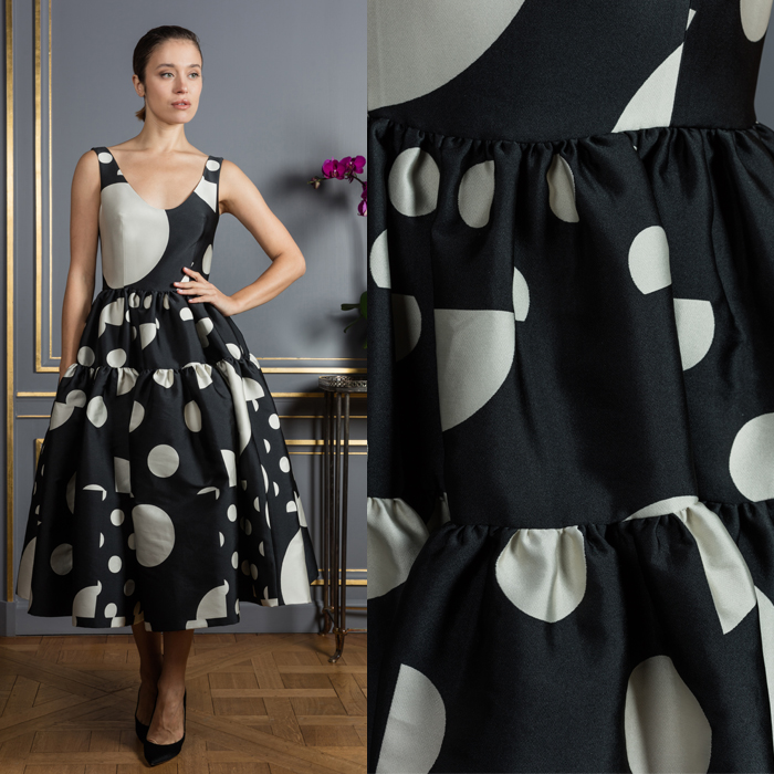 Polka dot pouf dress