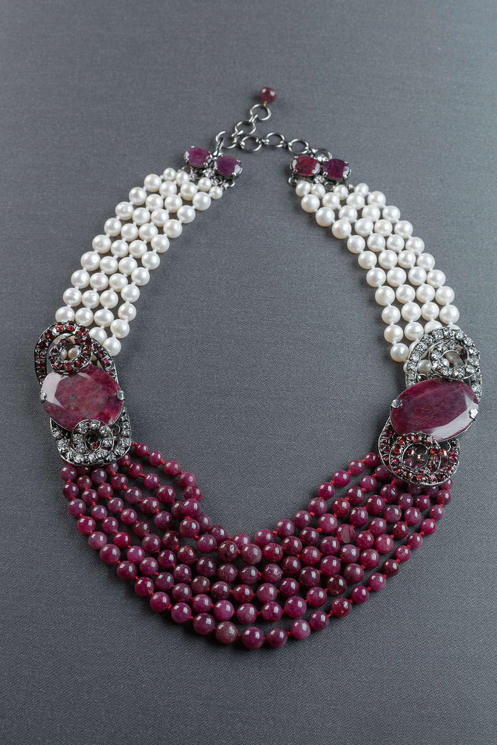 Ruby and pearl choker with double swirl clasps