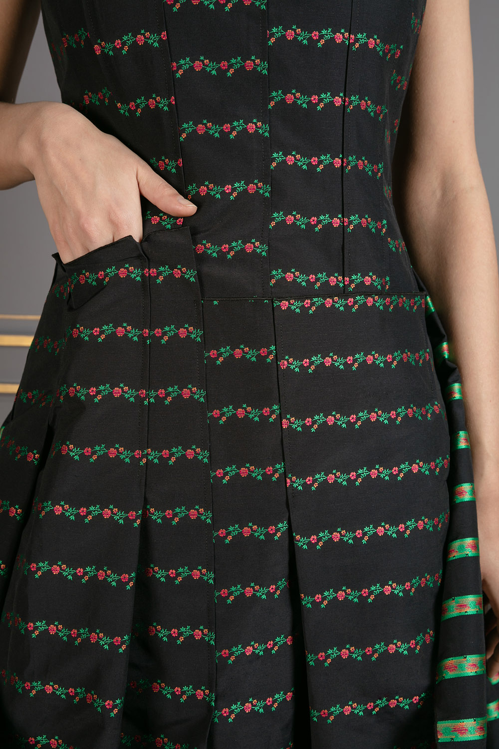 Printed tafetta gown with inverted skirt