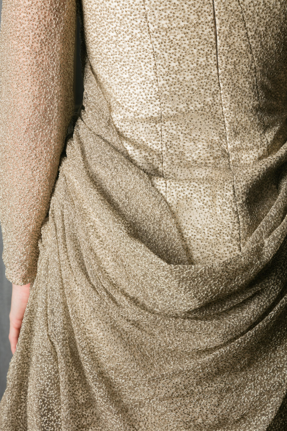 Exclusive midi-length gold dress